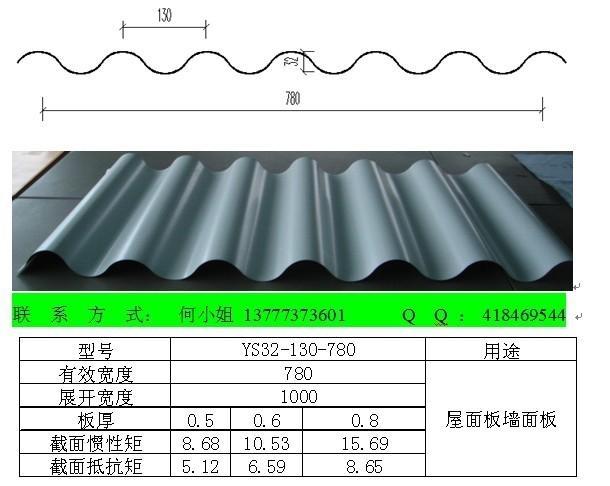 YX32-130-780型彩鋼波浪鋁鎂錳合金壓型板 1