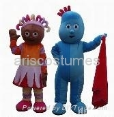 daisy and iggle piggle mascot costume Cartoon mascot