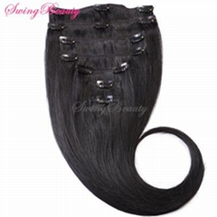 Clip In Natural Remy Human Hair Extensions Double Drawn Top Quality