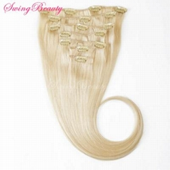 Clip in Natural European Natural Blonde Human Hair Extensions