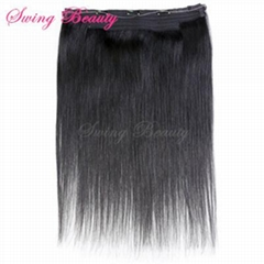 Flip in Natural Human Hair Extensions 1B# Straight Remy Hair