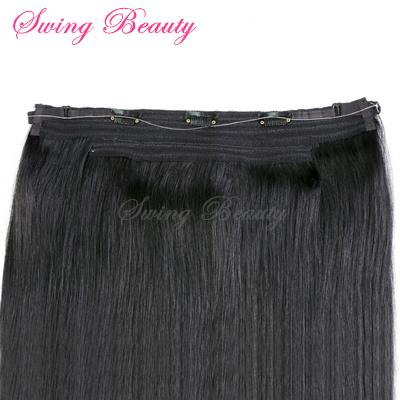 Flip in Natural Human Hair Extensions 1B# Straight Remy Hair 2