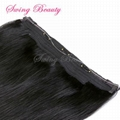 Flip in Natural Human Hair Extensions 1B# Straight Remy Hair 4