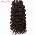100% Virgin Raw Cuticle Remy Hair Weft Extension Deep Curly Natural Brown Hairs