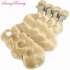 Natural Blond Human Hair Weaving Extensions Full Hair End Cheap Price
