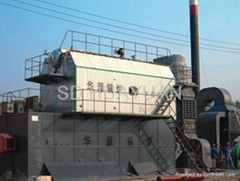 Coal water mixture steam and hot water series boiler
