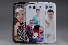 2D Hard sublimation case for Galaxy S3, black and white cover with blank alumin