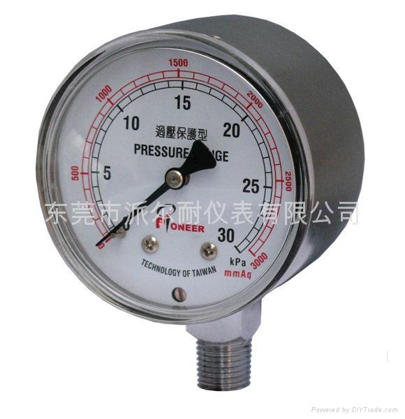 Pioneer牌66mm不锈钢壳微压计厂家直销 1