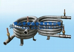 Titanium threaded coaxial tube heat exchanger