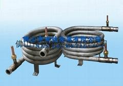 Titanium threaded coaxial tube heat exchanger