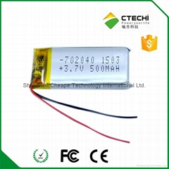 702040 battery lithium polymer type 3.7v 500mah battery for Beauty Instrument