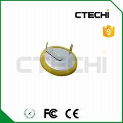LIR2025 3.6V Coin battery with 110° solder tabs for car key