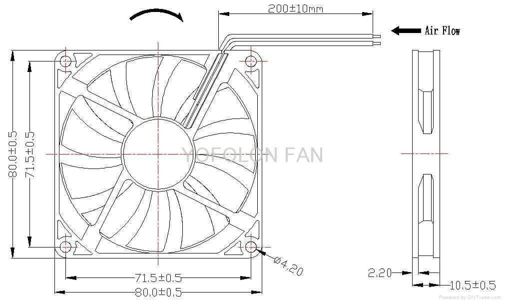 80x80x10mm DC Cooling Fan for LED Board 12v cooling fan  3