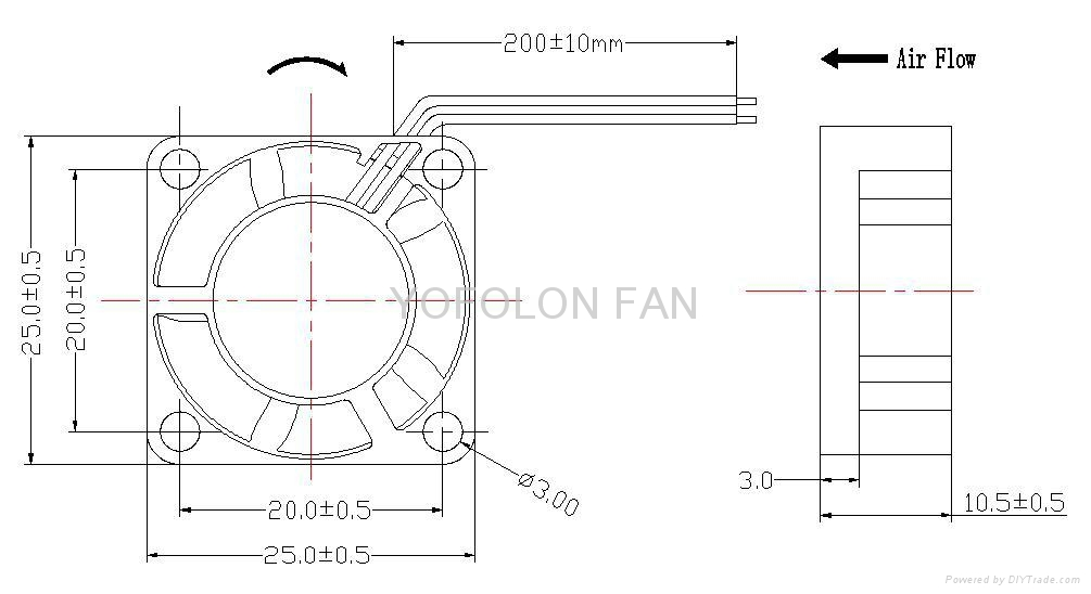 25x25x10mm 5V 12V Mini Cooling Fan 25mm micro dc fan  3