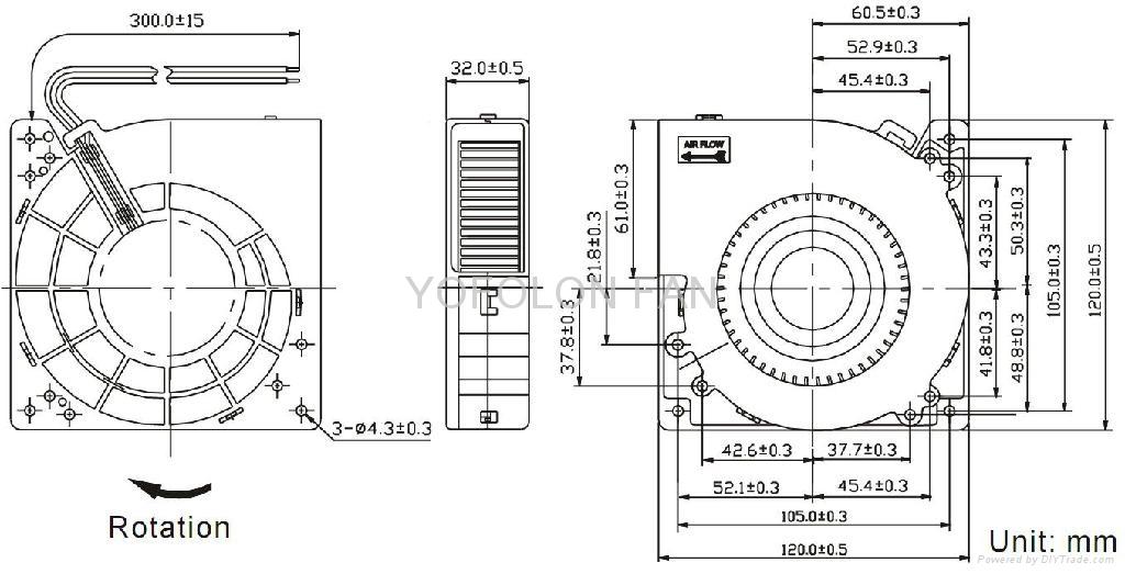 120x120x32mm 12V/24V DC Blower Fan 120mm  blower cooling  fan 3