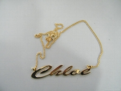 customize metal plated necklace jewelry tag metal tag