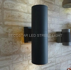 Aluminum round up and downward LED wall light fixture outdoor