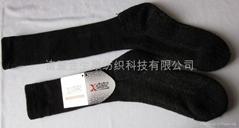 供黑色抗静电抗菌银纤维氨竹棉袜