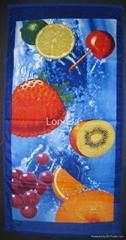 全棉割绒活性印花沙滩巾