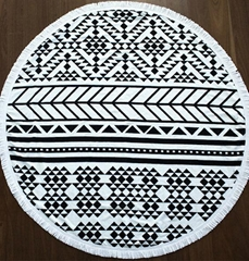 100% Cotton Printed Round Beach Towels With Tassels Fringe