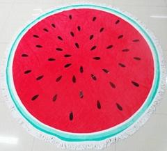 Microfiber Printed Circular Beach Towels With Tassels Fringe