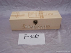 wooden wine box with carving