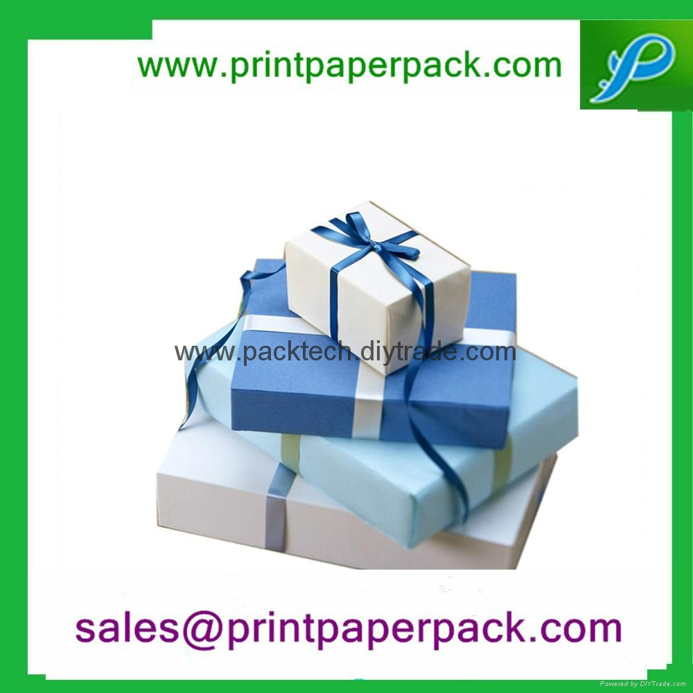 Round Hat Printed Paper Jewelry gift Box with Ribbon 2