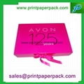 Round Hat Printed Paper Jewelry gift Box with Ribbon 3