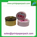 Round Hat Printed Paper Jewelry gift Box with Ribbon 5
