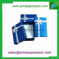 Round Hat Printed Paper Jewelry gift Box with Ribbon
