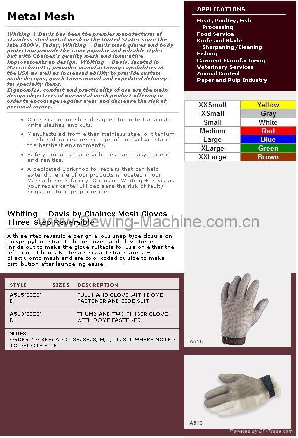 Whting & Davis Stainless Steel Metal Mesh Gloves