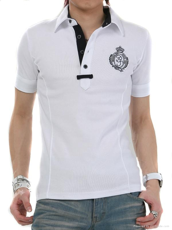 White with embroidery fited mens polo t shirt 385 china for Cheap polo shirts embroidered