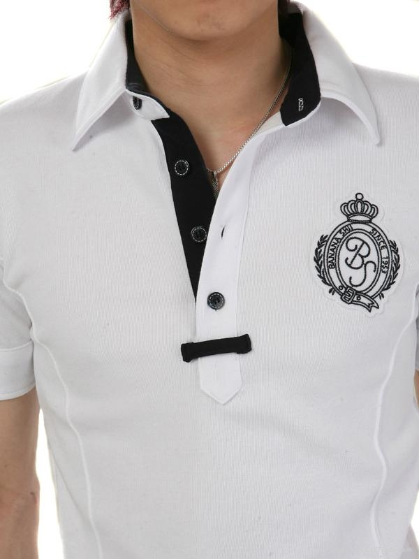 White with embroidery fited mens polo t shirt 385 china for How to embroider t shirts