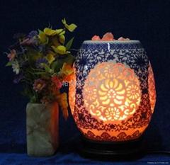陶瓷玉蘭瓶水晶鹽燈