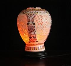 彩繪陶瓷水晶鹽燈紅花魚尾