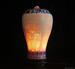 負離子陶瓷玉立瓶水晶鹽燈(小)