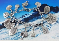 WHOLESALE!Tibetan silver Tree of  Life  Angel wing Fleur de lis Charm bracelets