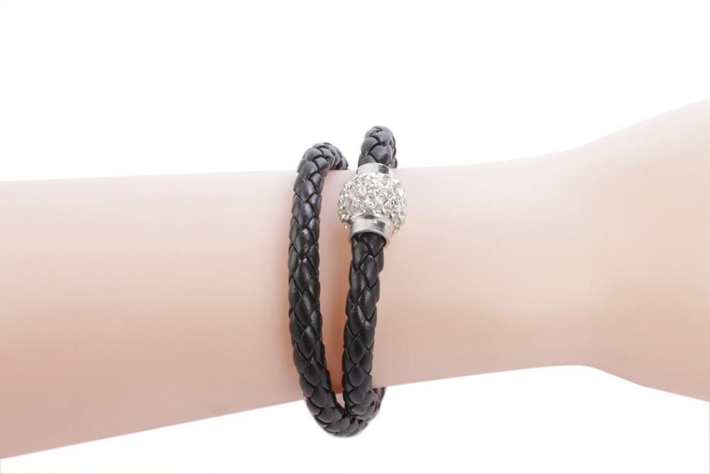 New Stylish Leather Punk Rhinestone Magnet Clasp Bracelet Bangle 2