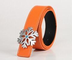 Fashion Silver Christmas Snowflake Buckle Genuine Leather Belt Waistband