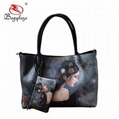 Large Digital Print Handbags Girls Vogue Purse Bags and Wallets set