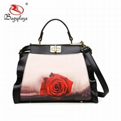 Wholesale PU Leather Shoulder Bag Mature Women Rose Digital Print Handbag