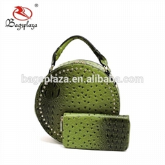 Guangzhou manufacturer custom beaded ostrich women bag handbag designer round ba
