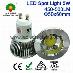 CE SAA UL Approved 5W GU10 450-500LM COB LED Lighting Spot 85-265V