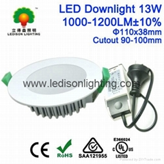 Residential Hotel Office 13W LED Down Light Frosted Cover 1200LM CE SAA Approved