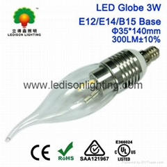 CE SAA UL Listed 3W LED Candle Bulb Lamp E12 E14 E27 B22