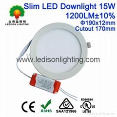 Ultra Thin LED Downlight 15W Panel Light 190x12mm 170mm Cutout