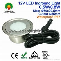 Mini LED Underground Light Bulb Waterproof IP67 0.5W 12V DC Input