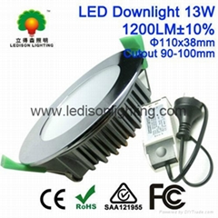 CE SAA Approved SMD 7W 10W 13W Chrome Fitting LED Downlight 90mm 100mm Cutout