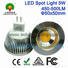 CE SAA UL Approved 5W MR16 GU5.3 LED 12v COB Spotlight 450LM 50x50mm Bulb