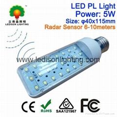 Microwave Radar Sensitive LED PL Lights with Motion Sensor E27 G23 G24 Bulb 5Wat